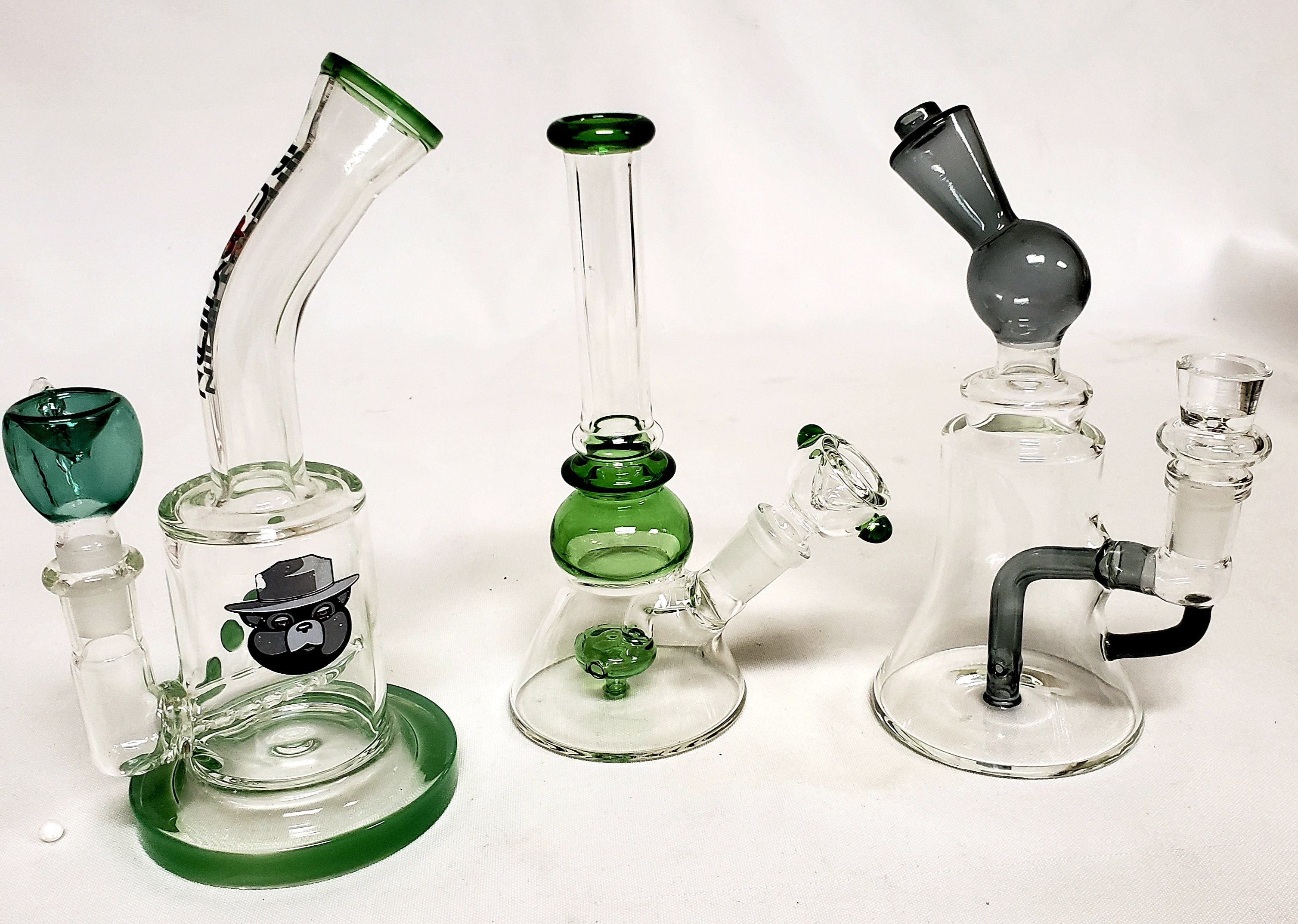 "*6.5""-7"" -3 pc. Assorted Fancy Perc Water Pipes #3AP2"