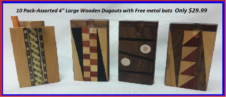 "10 pack-4"" wooden assorted Dugouts w/Free Metal Bats #10DO35"