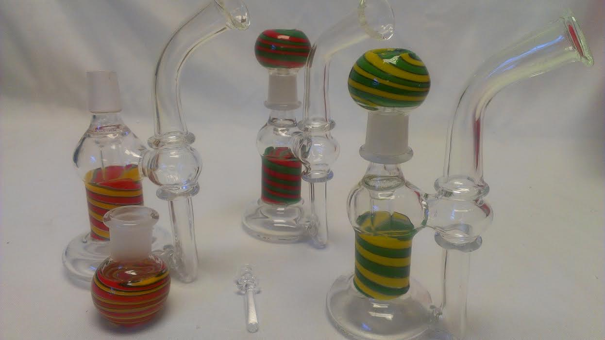 "7.5"" Fancy Smoking Glass Bubbler with Oil Dome & Nail -OB13"