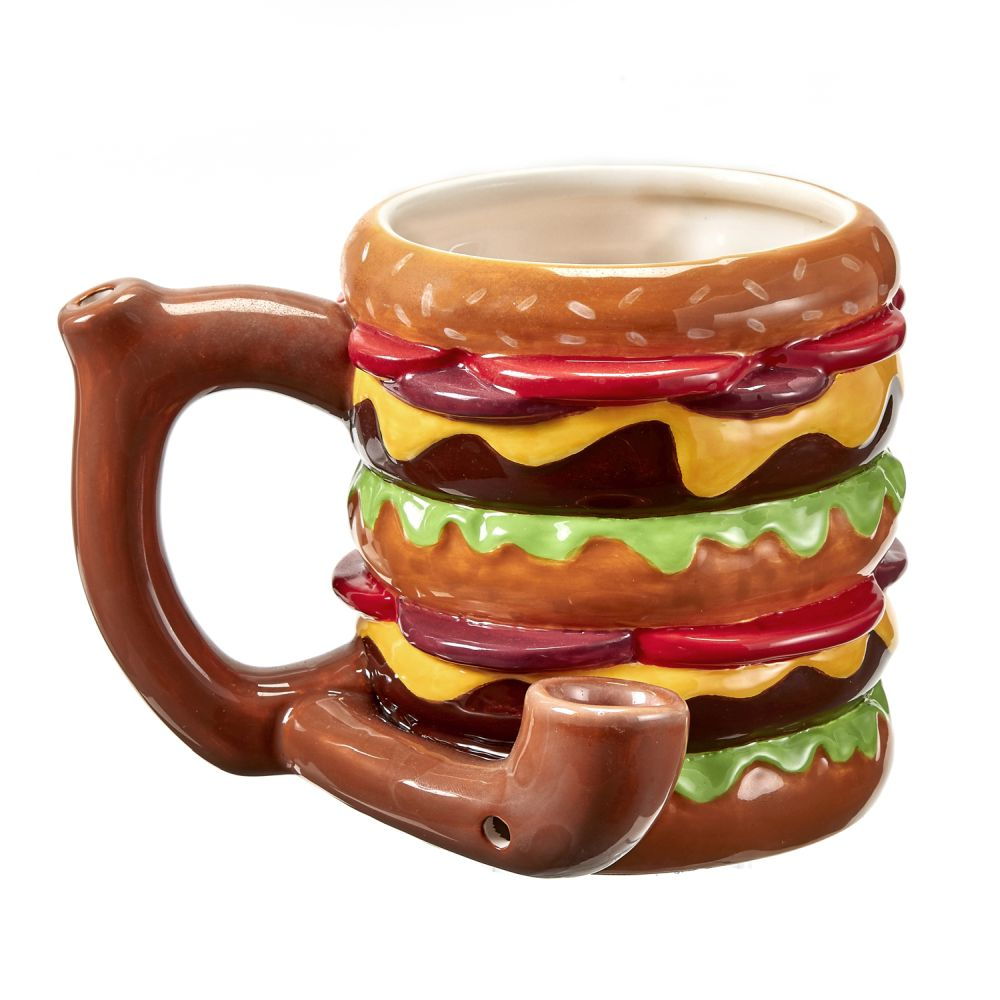 Mug-Ceramic Cheeseburger Design Pipe Mug #HAMM