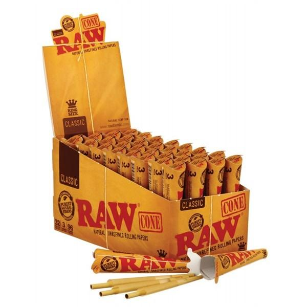 *RAW Classic Pre-Rolled Cone King Size Rolling Paper 32 Packs/bx