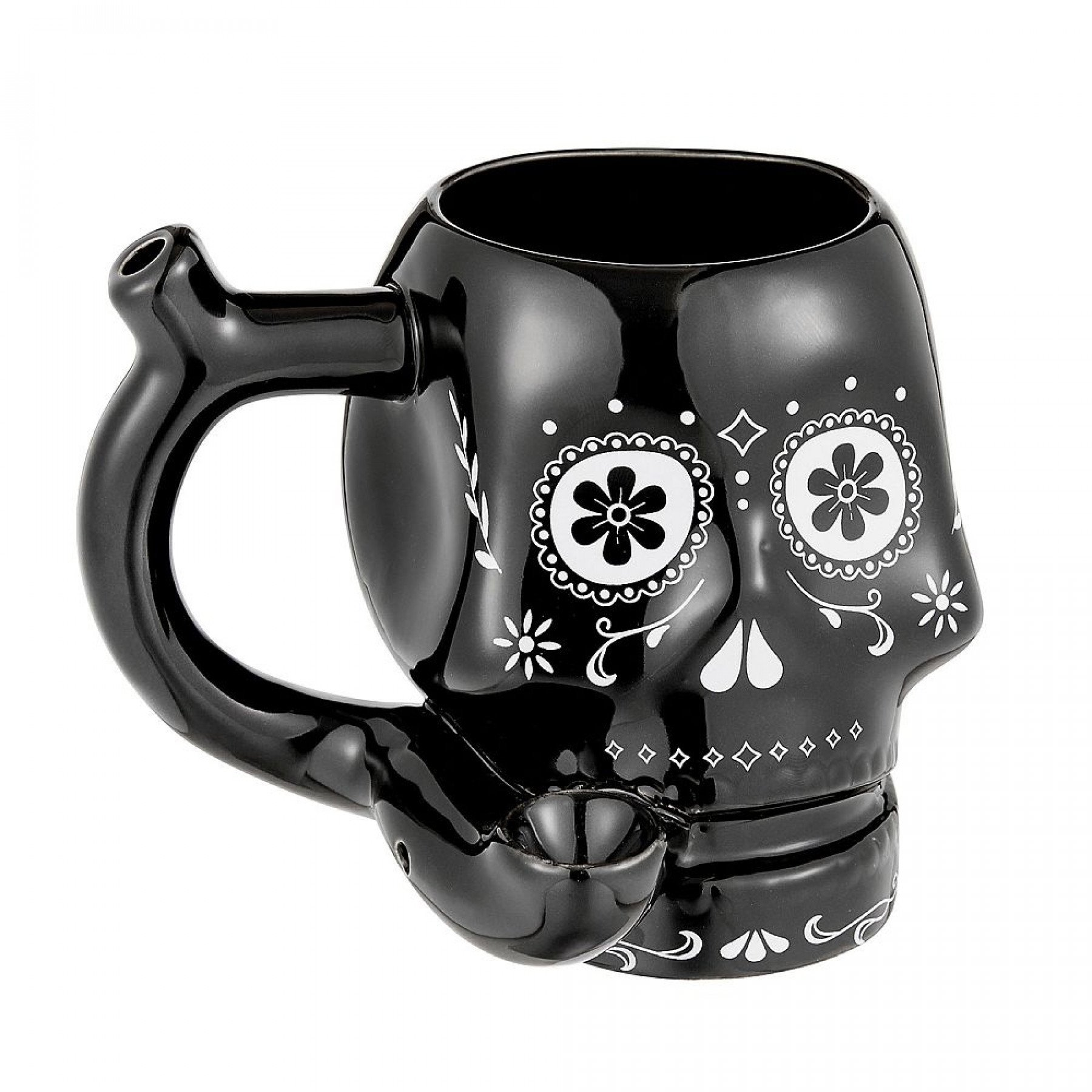 Mug-Black-Ceramic Skull Pipe Mug #BCSKL