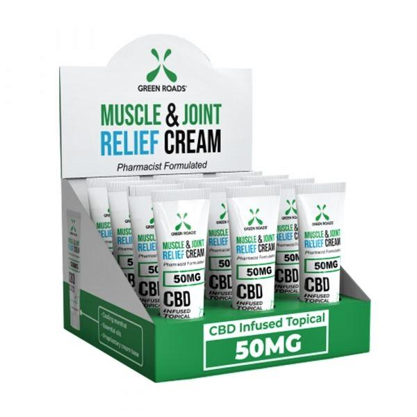GREEN ROADS MUSCLE & JOINT RELIEF CREAM 50MG BOX OF 12CT #GRC