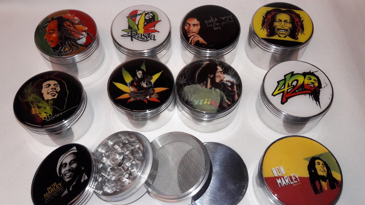 *4 Part-60mm Assorted Bob Marley Grinders #HG76