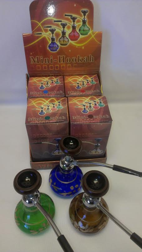 "4 Count Mini Hookahs Mix Colors 10.5"" #4MH"