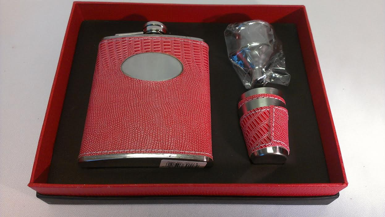 7oz. Leather Wrap Flask w/Engr. Plate, 1 Cup & Funnel Set18