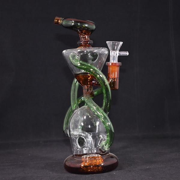 *RECYCLER GLASS WATERPIPE TRIPLE CYCLONE INLINE ARM PERC WP243