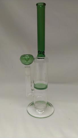 "14"" Slim mouth Green colorWater Pipe w/ Honeycomb Disc WP206"