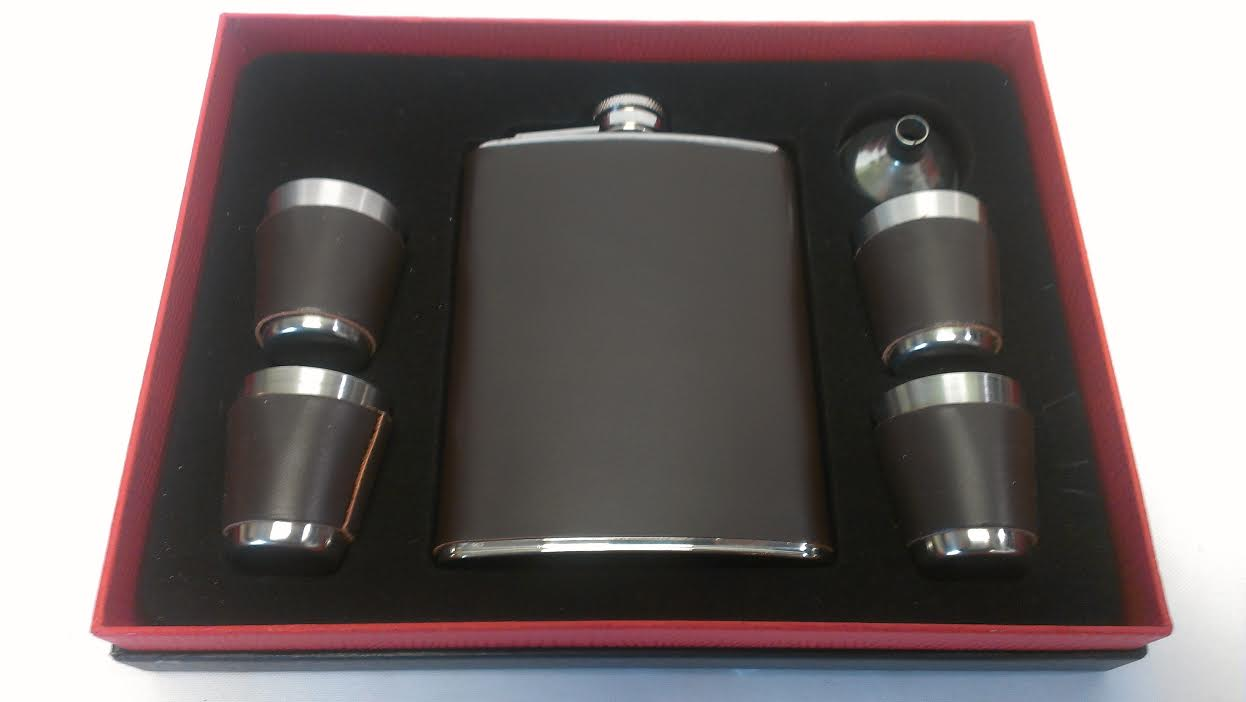 8oz. Leather Wrap Flask, 4 Shot Cups & 1 Funnel Set22