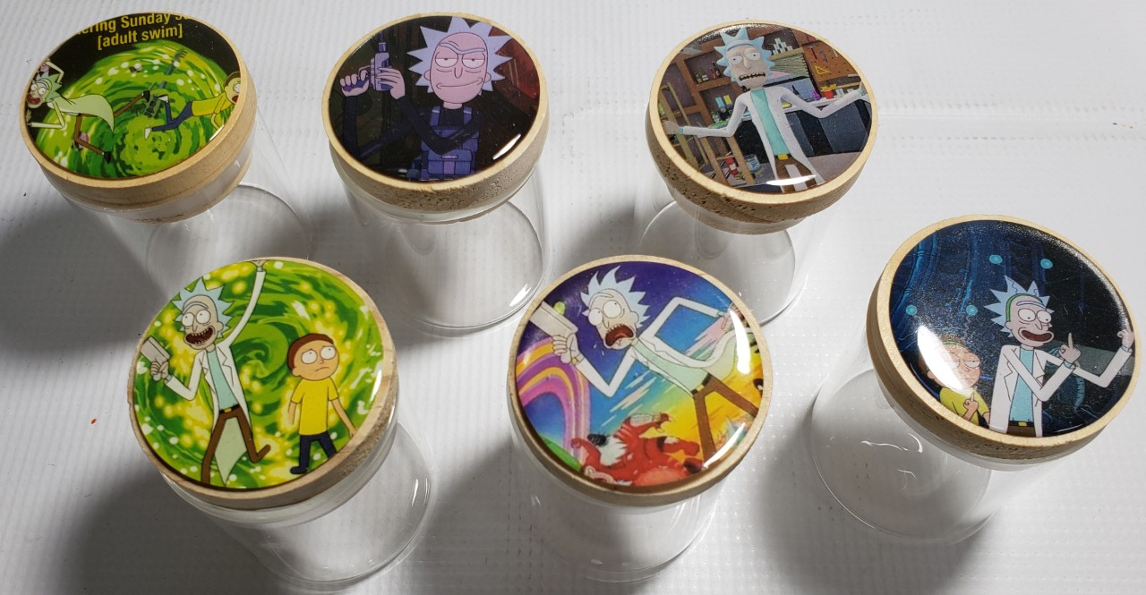 *Jars-Glass Clear Jars with Rick & Morty Pictures SJ1