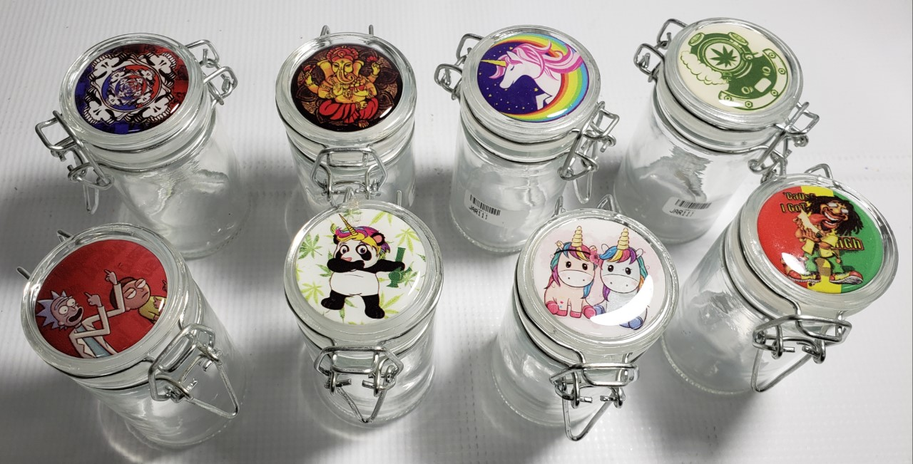 "*Clear 3.5""-75ml-Glass Jars Assorted Design on top with Chip Loc"