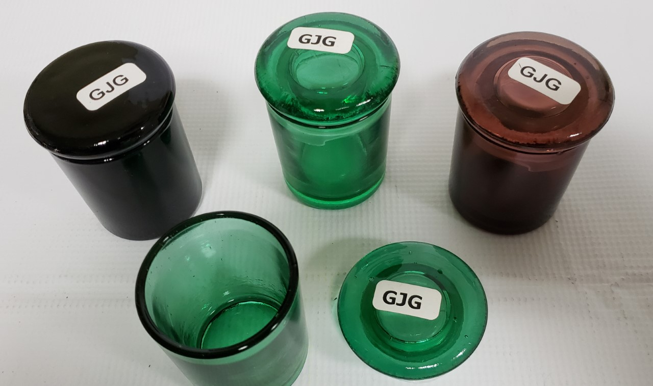 "*Jars-Glass Jars with Glass Cap-Large 3"" height #GJG"