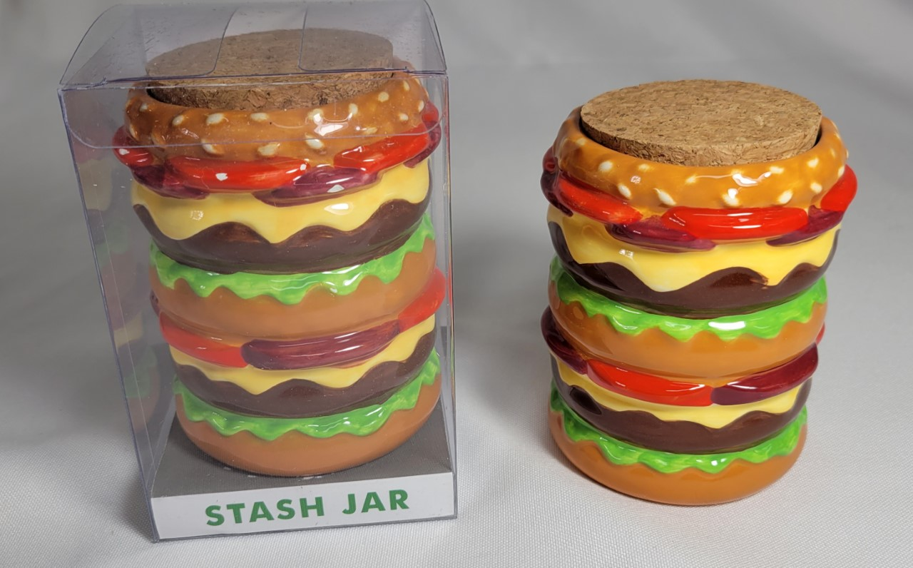 *Jars-Ceramic Cheese Burger Big Stash Jars #CBJ